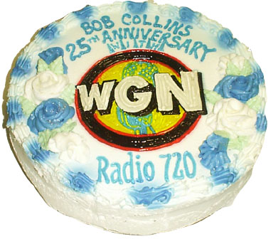 Bob's 25th Anniversary at WGN Radio was celebrated April 1, 1999 with the requisite cake