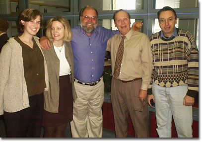 Bob's 25th Anniversary group hug: producer Audrey Clarke (and her infamous sweater), (a distracted) program director Mary June Rose, the man of the quarter century - Bob Collins, news director Tom Petersen, and political analyst Paul Green (waiting for cake)