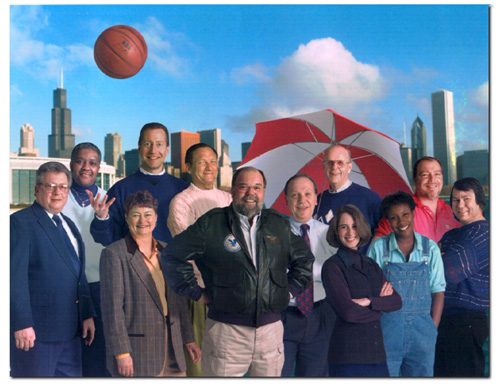 (Left to right) Engineer Bob Broz, engineer Milt Owens, assistant Diane Huske, sports director Dave Eanet, news reporter Larry Schreiner, Bob Collins, news director Tom Petersen, meteorologist Roger Triemstra, producer Audrey Clarke, traffic reporter Evelyn Holmes, traffic-copter reporter Mike Mathis, engineer Ben Cortez
