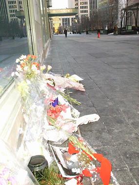 Listener memorials outside the Showcase Studio.