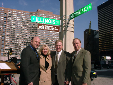 Dean Richards, Christine Collins, Spike O'Dell, and WGN Radio News Director Tom Petersen