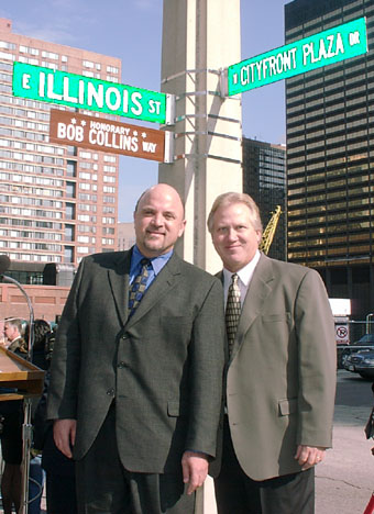 Dean Richards, who anchored the ceremony, and Spike O'Dell are happy to note the memorial to Bob