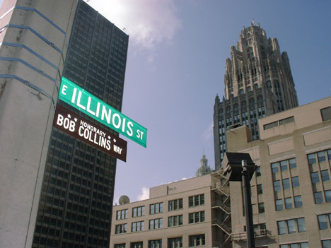 The sign and the Tribune Tower, where Bob's voice boomed from
