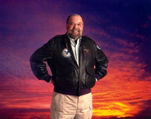 Following Bob's death, John Welzenbach decided to pay tribute by creating this composite image. The photo was known to be one of Bob's favorite images of himself. You may recognize it from the shot of the mid 90's crew. This image, combined with the dramatic background, was displayed at Holy Name Cathedral during the Memorial Service.