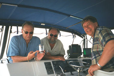 """The Guys. (L-R) Tom Petersen, Bob, and Lyle Dean on the infamous """"Yacht Lyle Dean."""""""