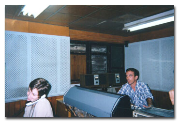 Producer Audrey Clarke and a Radio Havana engineer