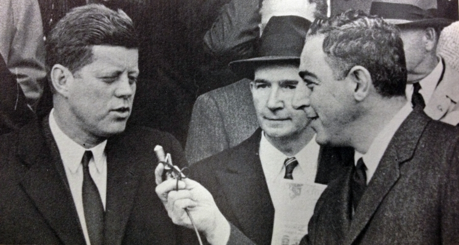 Vince Lloyd interviews President John F. Kennedy on Opening Day 1961.