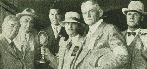Before the famous 1927 Dempsey-Tunney fight: (L-R) Dempsey manager Leo Flynn, Chicago Mayor William Hale Thompson, Jack Dempsey, Quin Ryan, promoter George Getz, and Tex Rickard.