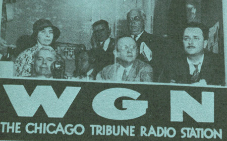 Quin Ryan (far right) at the 1928 G.O.P. Convention. Others in the booth include the Chicago Tribune's Genevieve Forbes Herrick and Arthur Sears, political reporters Arthur M. Evans and Oscar Hewitt, and WGN Radio's Carl Meyers and Frank P. Schreiber.