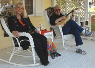 Steve and Johnnies celebrate Halloween on their porch in Panama City Beach