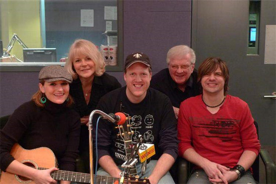 A trio of Aussies invaded the WGN Radio studios to play a few tunes. From left to right, Claire Wyndham, Ben Thompson and Anthony Snape