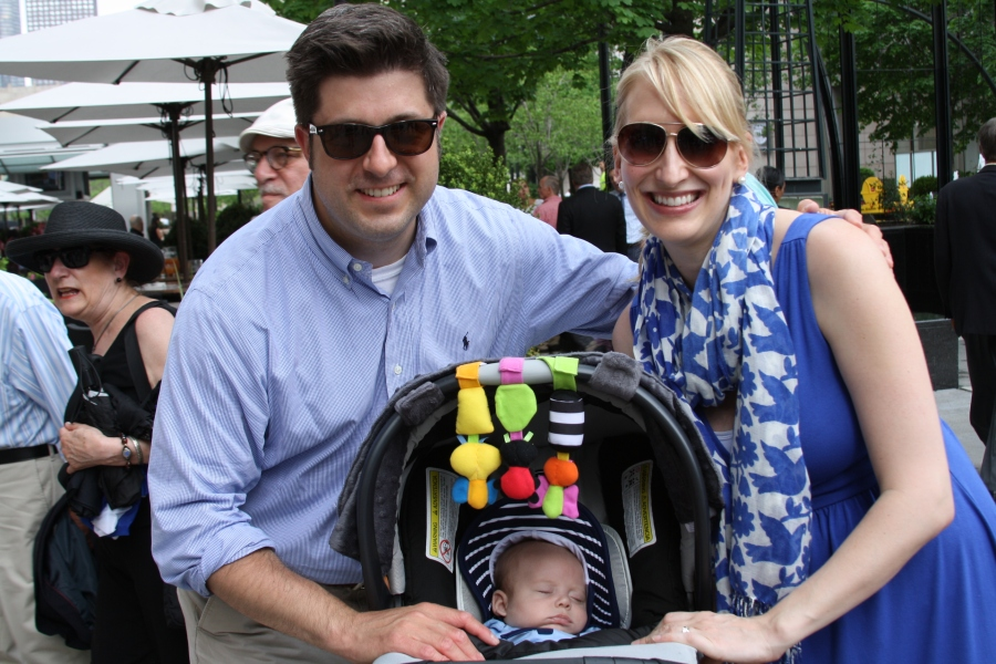 Outside the Loop host Mike Stephen attends the 2015 WGN Radio Walk of Fame induction ceremony with wife Jenny and new son Michael. (Kristin Decker/WGN Radio)