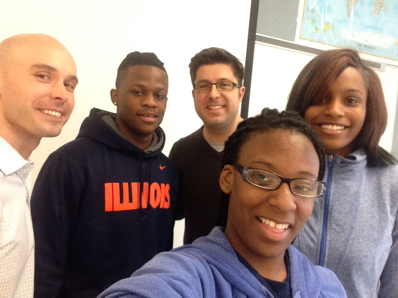 OTL visits the Chicago Vocational Career Academy ... [l-r] History teacher Dave Stieber, senior Pierre Walton, radio host Mike Stephen, junior Shakayla Walker, junior Monique Covington