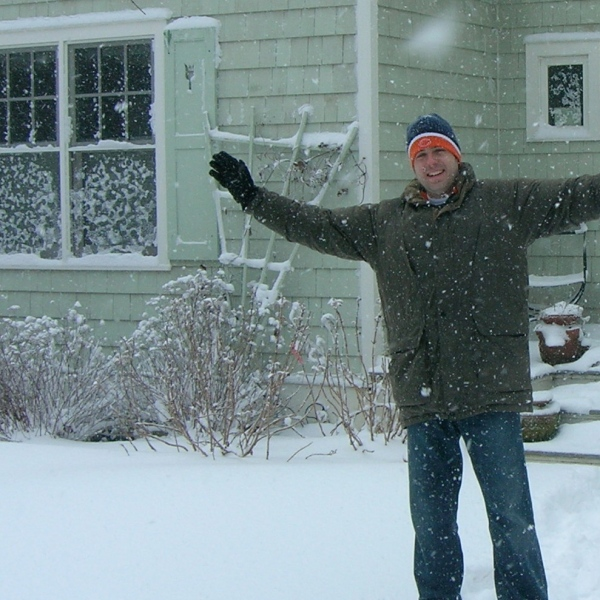 OTL host Mike Stephen celebrates the first snow of 2015 before being a good citizen and shoveling the sidewalk.
