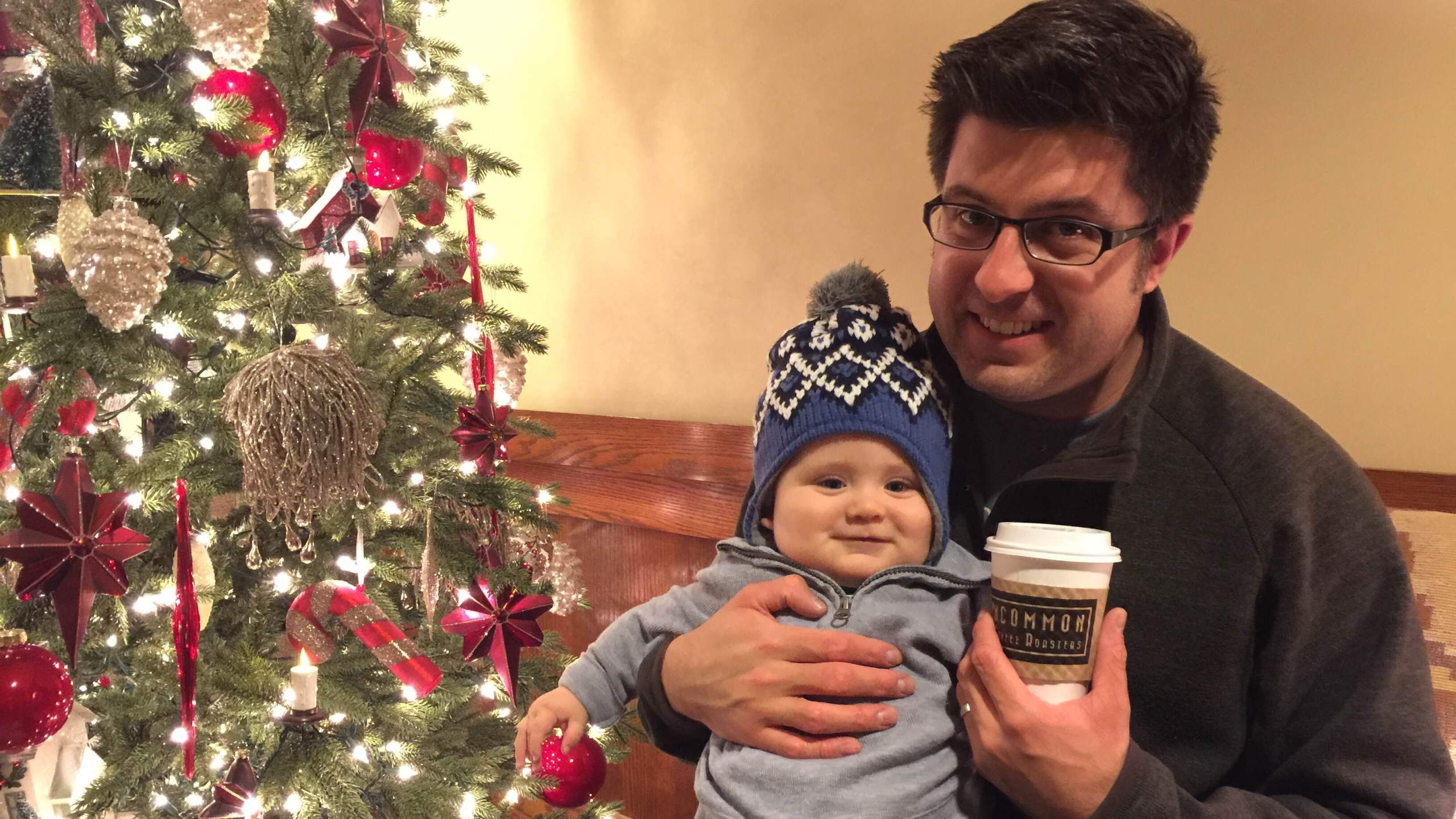 OTL host Mike Stephen offers Baby Mikey his first non-Intelligentsia/non-Peet's coffee.