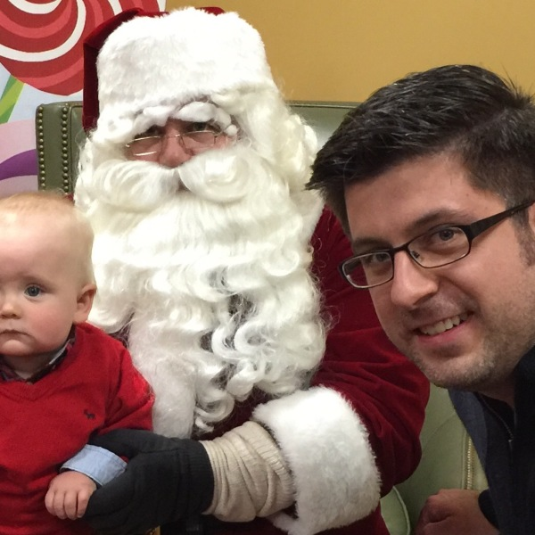 OTL host Mike Stephen III introduces his son Mike Stephen IV to his old friend and radio show guest Santa Claus.