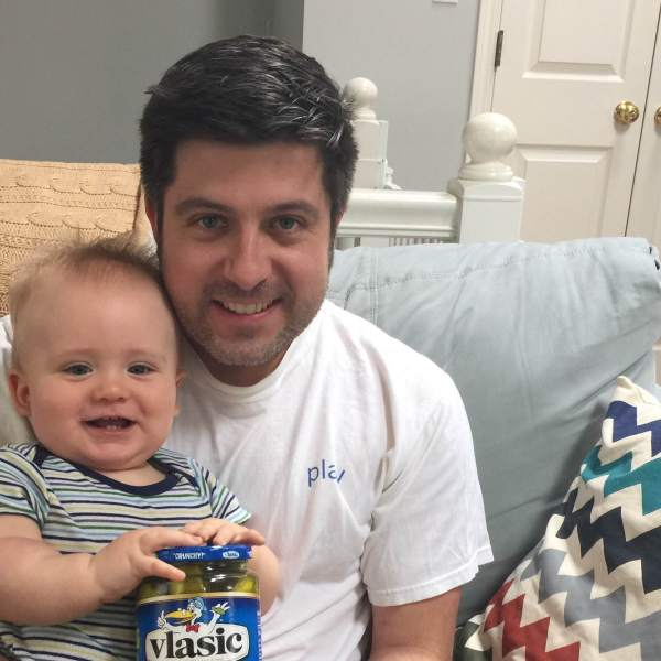 OTL host Mike Stephen III celebrates his birthday with his son Mike Stephen IV and a very special jar of pickles.