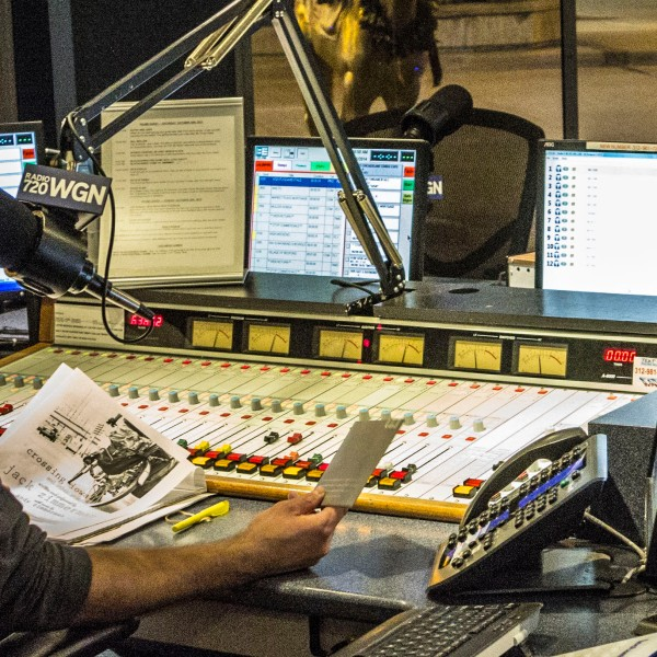 OTL host Mike Stephen multitasks in the WGN Radio showcase studio.
