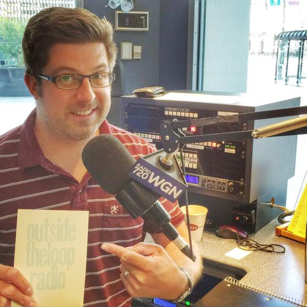 OTL host Mike Stephen shows off an Outside the Loop Radio postcard made by our friends at BookClub Chicago.