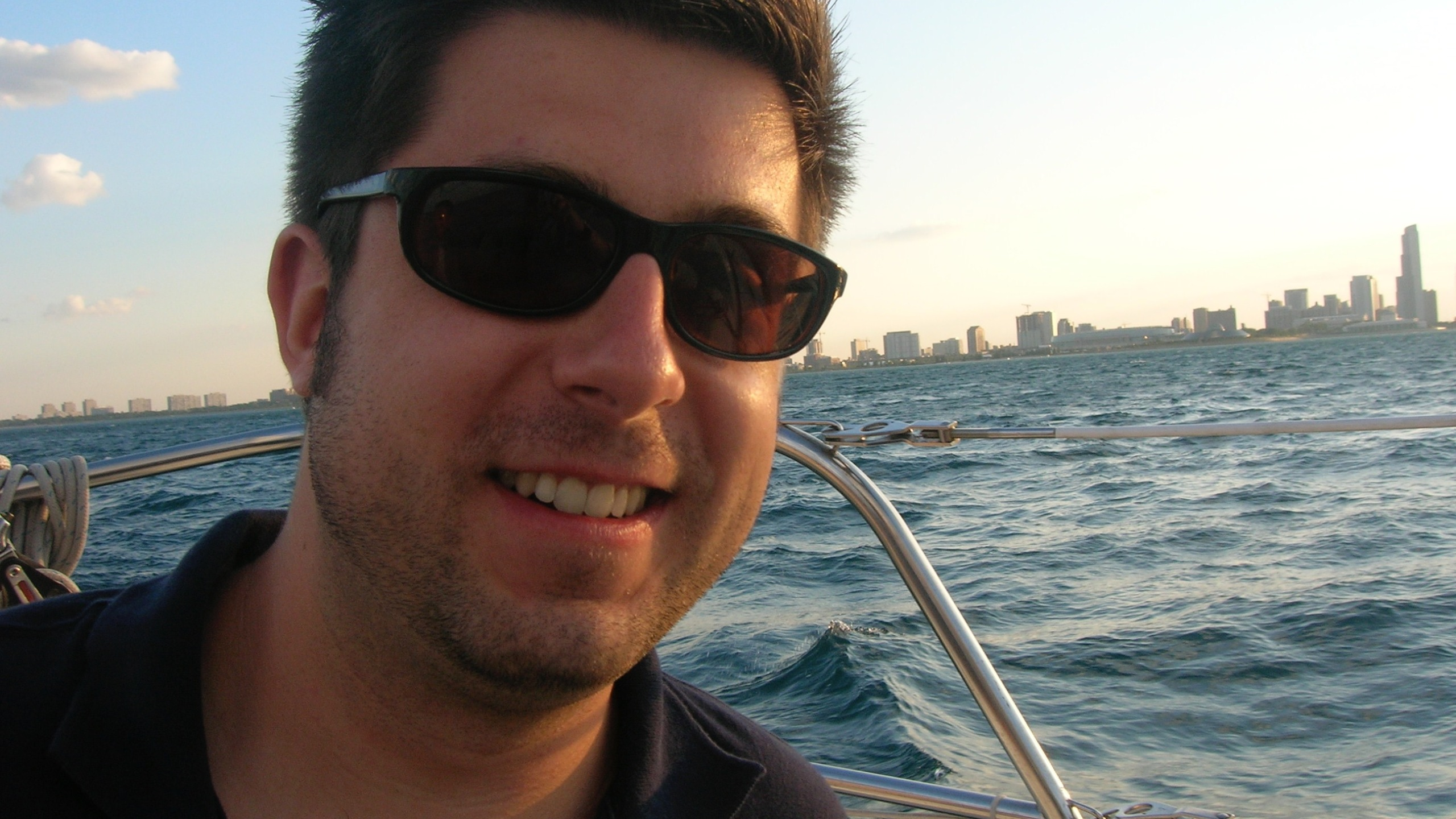 OTL host Mike Stephen boats way out into Lake Michigan for his safe swimming practice. [photo circa 2008]