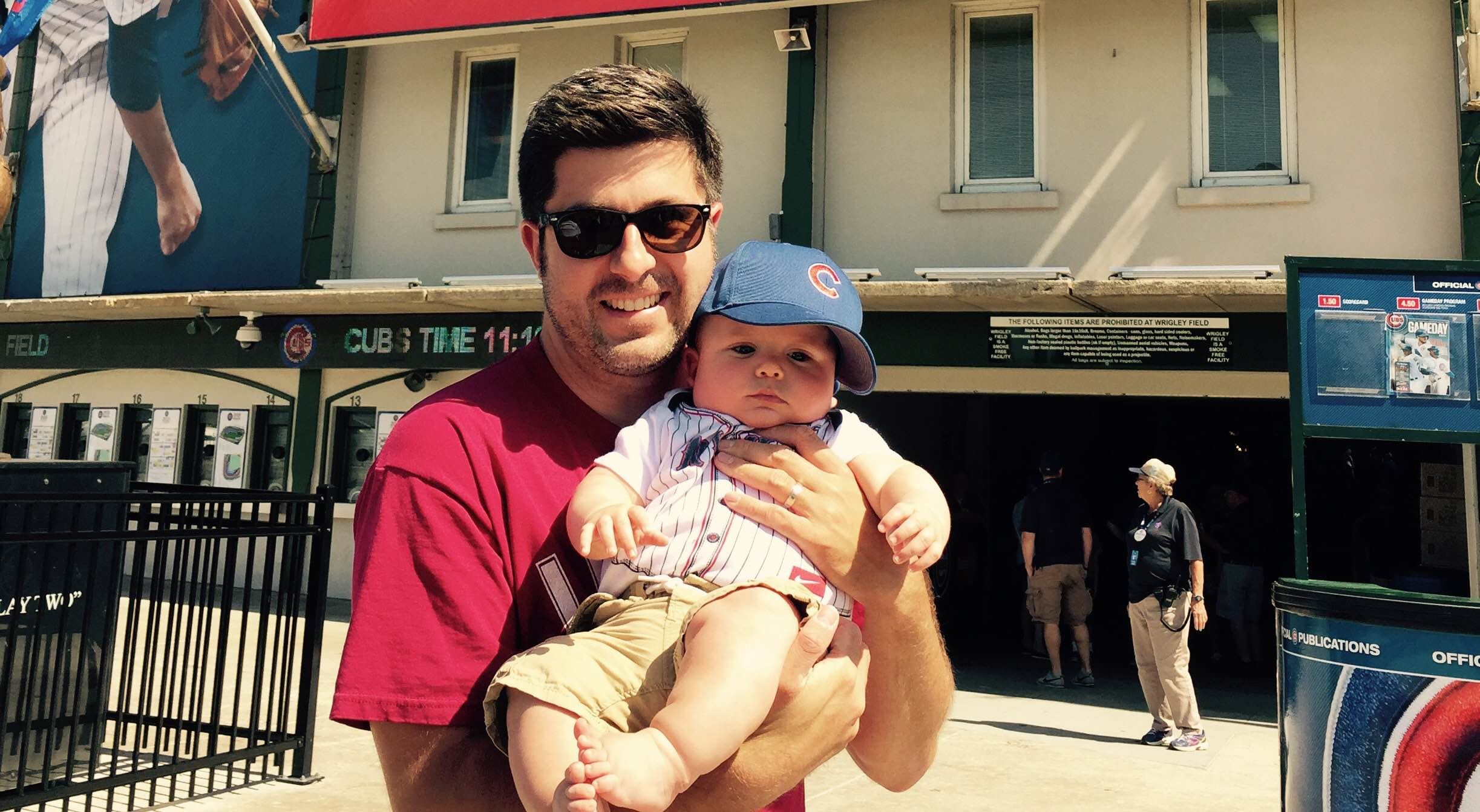 OTL host Mike Stephen III shows his son Mike Stephen IV around Wrigley Field. Go Cubs! [circa summer 2015]