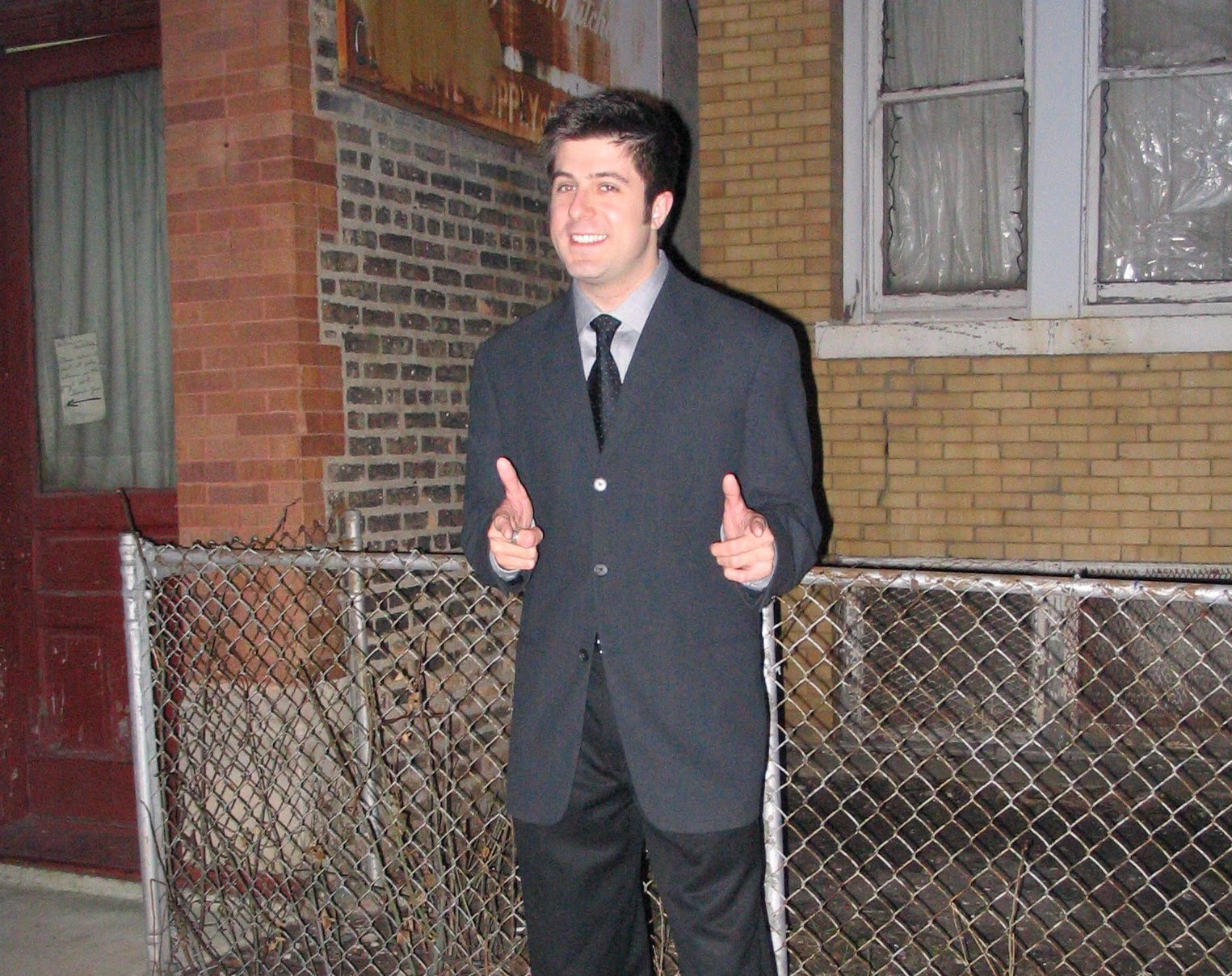OTL host Mike Stephen shows off one of his many radio show work suits before the snowstorm hits.