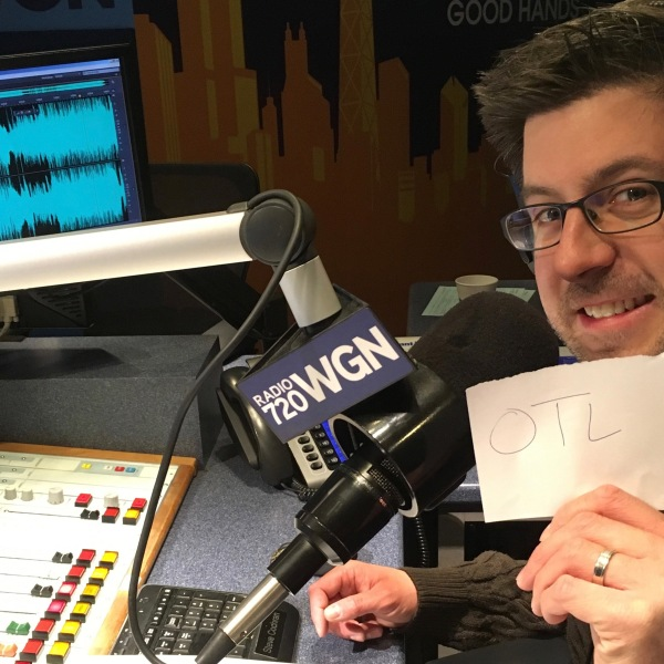 OTL host Mike Stephen knows which stack of papers is his due to WGN Radio super engineer Bob Ferguson's helpful note.