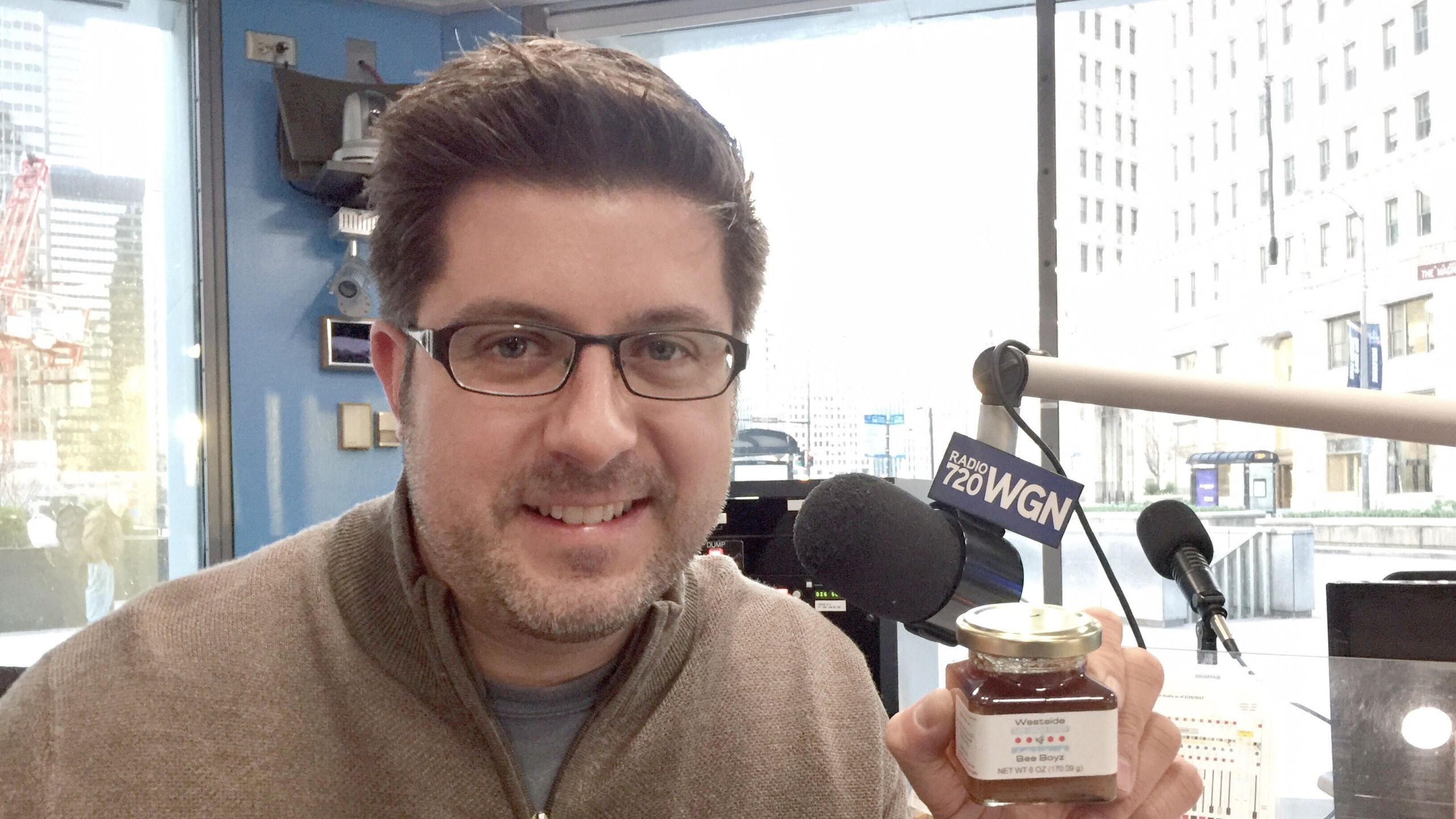 OTL host Mike Stephen shows off his Westside Bee Boyz honey... which he tried out in his official radio show tea this morning.