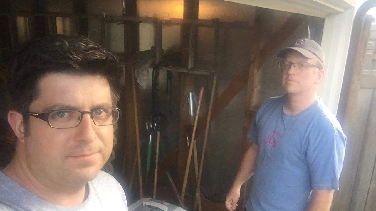 OTL host Mike Stephen raids producer Andy Hermann's garage for tools for his new house.