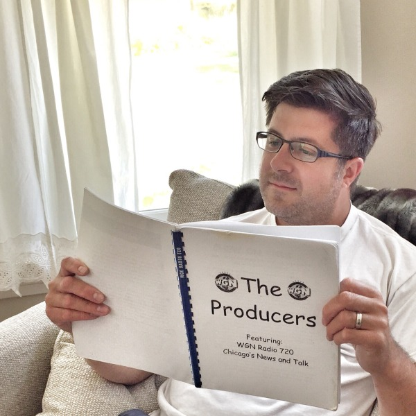 OTL host Mike Stephen studies up on his WGN Radio producers manual from 2001.