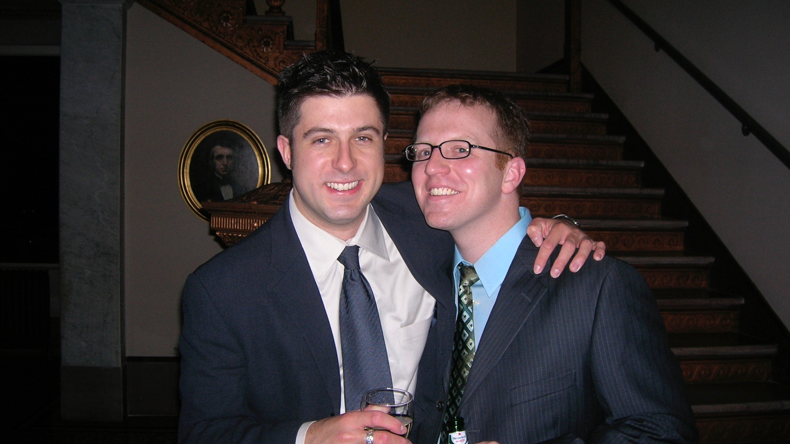OTL host Mike Stephen and producer Andy Hermann celebrate five years of friendship in 2006.