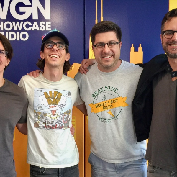 Local band Dream Version rocked the soundtrack for OTL #559! [L-R] Eric Brummitt, Alec Jensen, OTL host Mike Stephen (in the Brat Stop t-shirt!), Michael Kunik