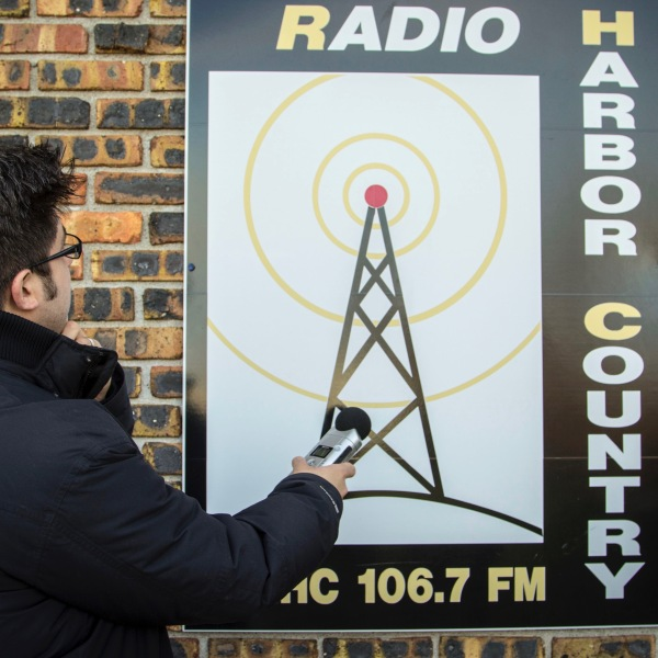 OTL host Mike Stephen admires Radio Harbor Country in Three Oaks, Michigan in 2013.