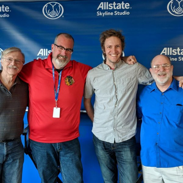 From left to right: broadcasters Christopher Michael, Brian Noonan, Cody Gough, and Roger Badesch