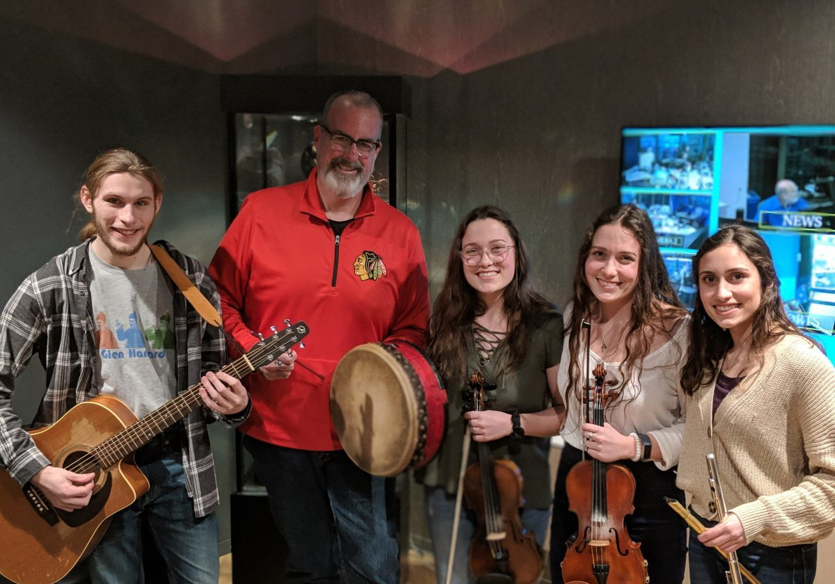 Brian Noonan with musicians from the Academy of Irish Music