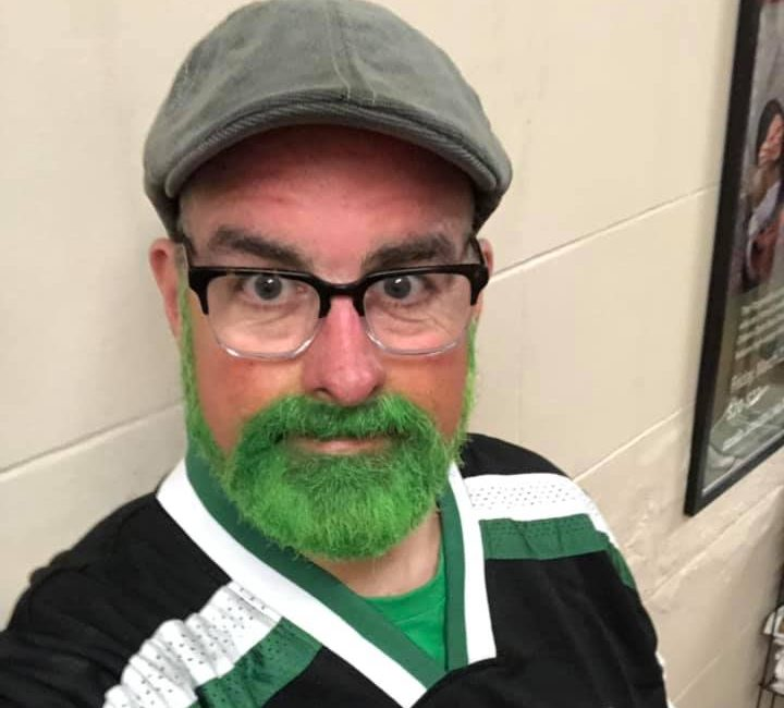 Brian Noonan with a festive green beard to celebrate St. Patrick's Day