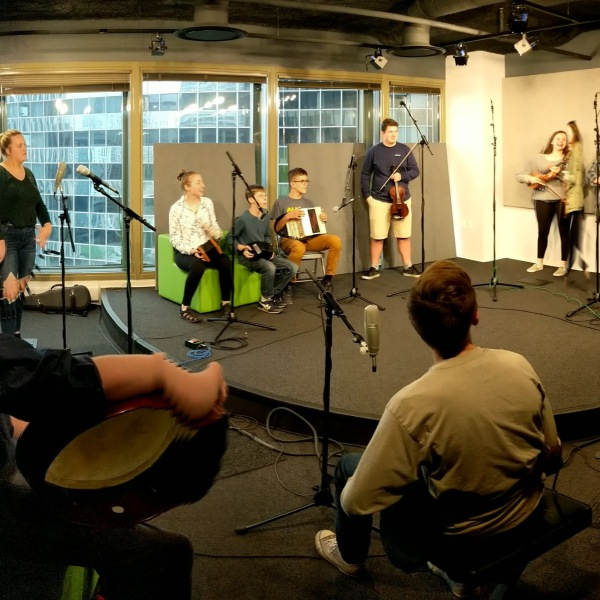 Musicians from The Shepherd School of Irish Music perform in-studio on the Brian Noonan Show on WGN Radio.