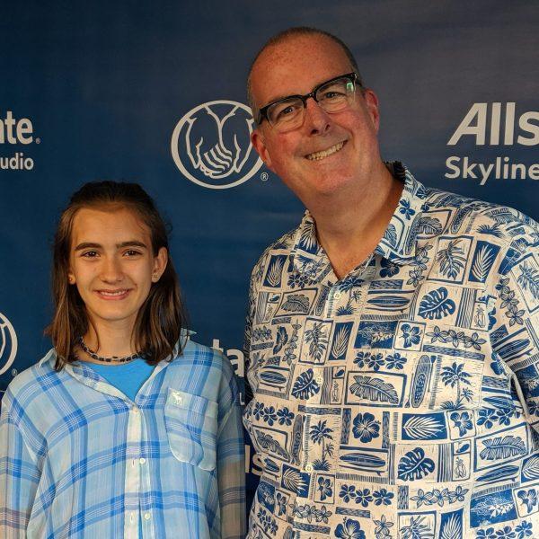 Illinois' 3M Young Scientist Challenge State Merit Winner Emilia Dobek (left) and WGN Radio host Brian Noonan (right)