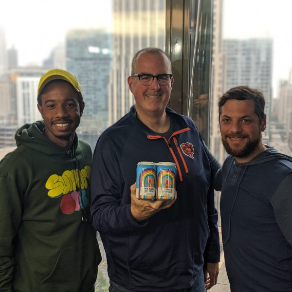 From left to right: SocialWorks' Justin Cunningham, WGN Radio's Brian Noonan, and Passion House Coffee Roasters' Joshua Millman (Photo credit: Cody Gough / WGN Radio Chicago)