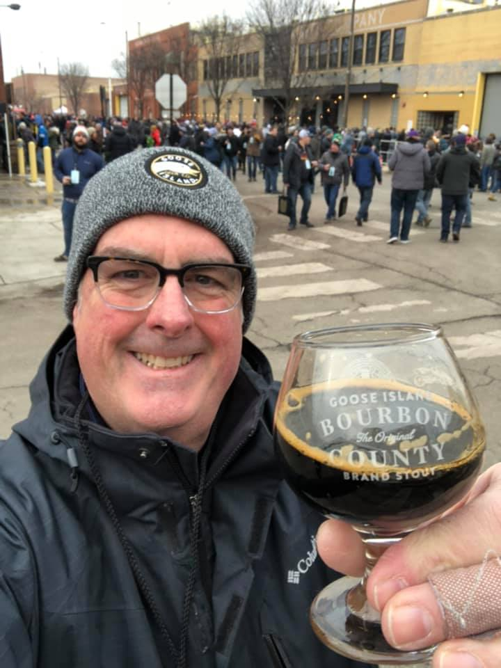 Brian Noonan shows off some Bourbon County Stout at Goose Island Prop Day 2019.
