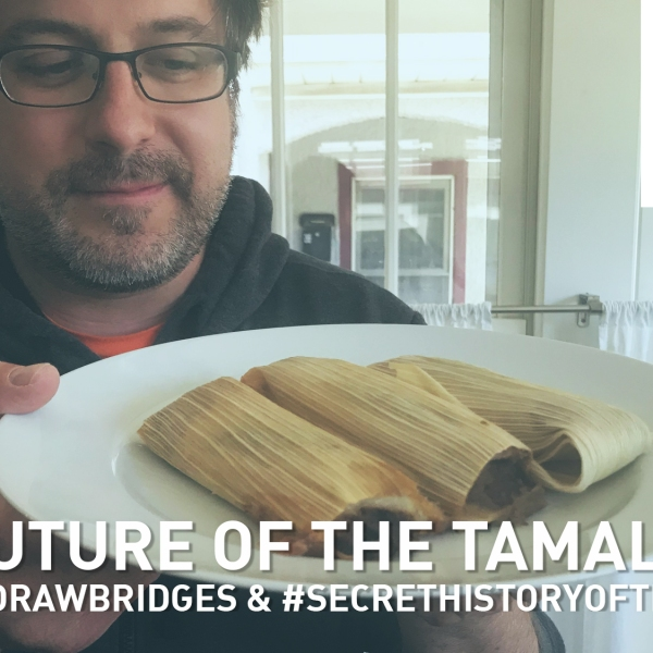 Mike Stephen showcases his tamale lunch.