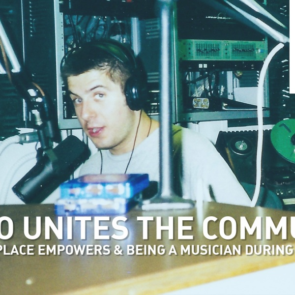 Mike Stephen broadcasts from WLUW-FM, a community radio station at the time, circa 1999.