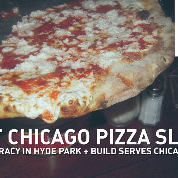Slices of pizza are delicious.