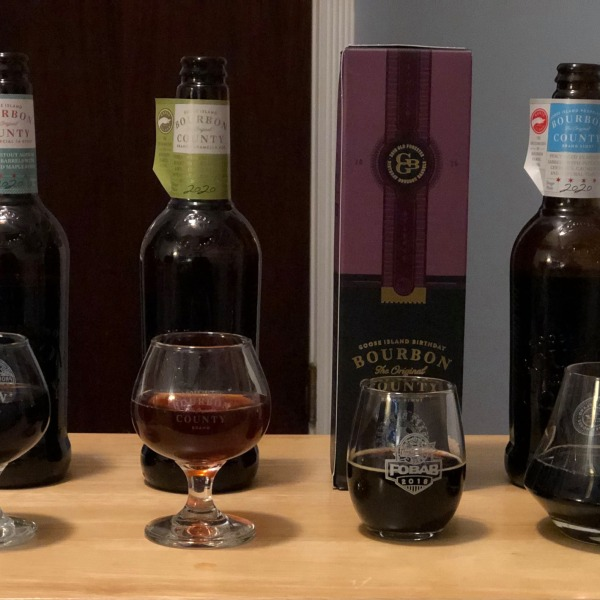 Four varieties of the 2020 Goose Island Bourbon County Stout