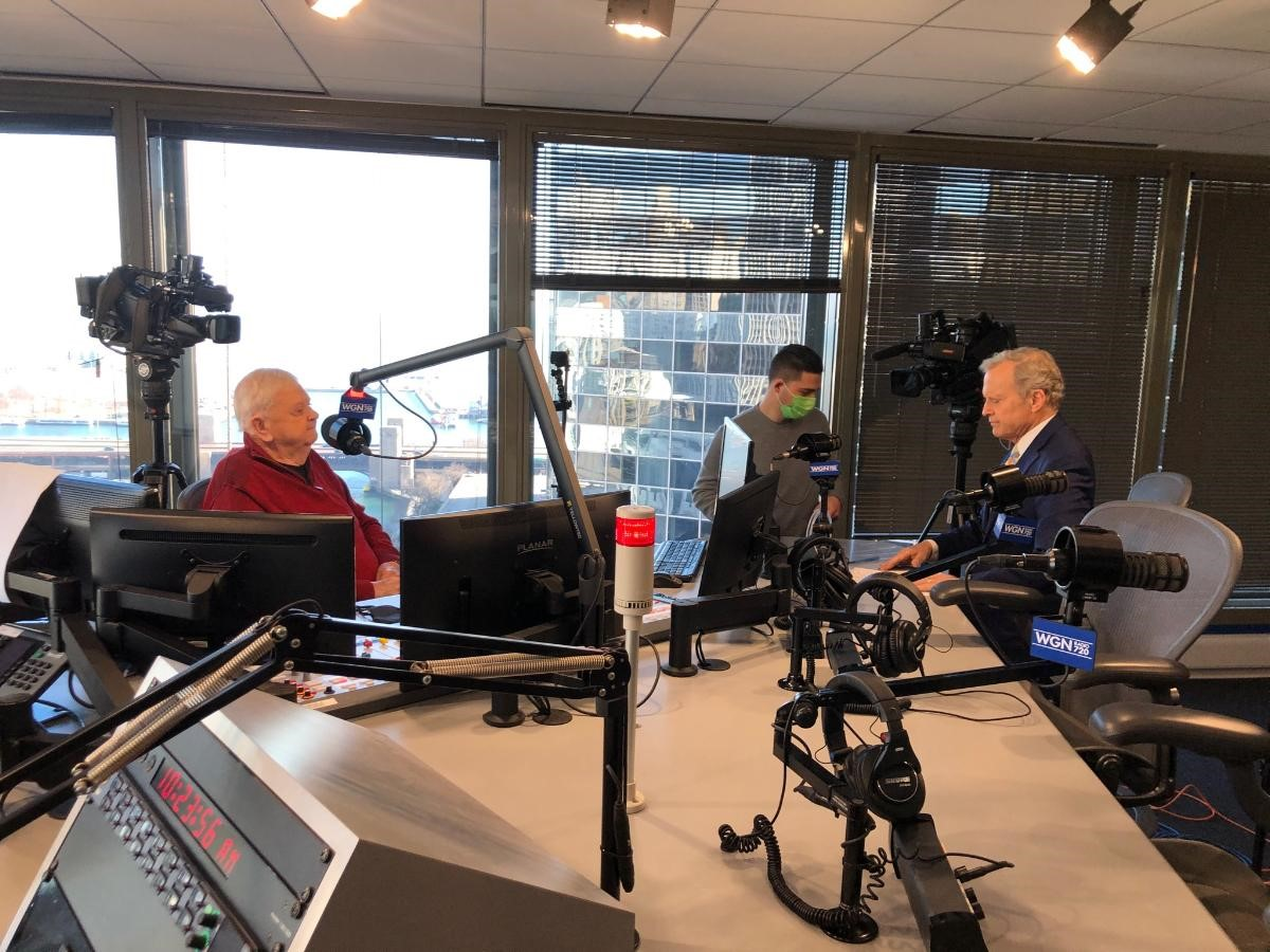Orion Samuelson being interviewed by Bob Sirott in the WGN Radio Studios