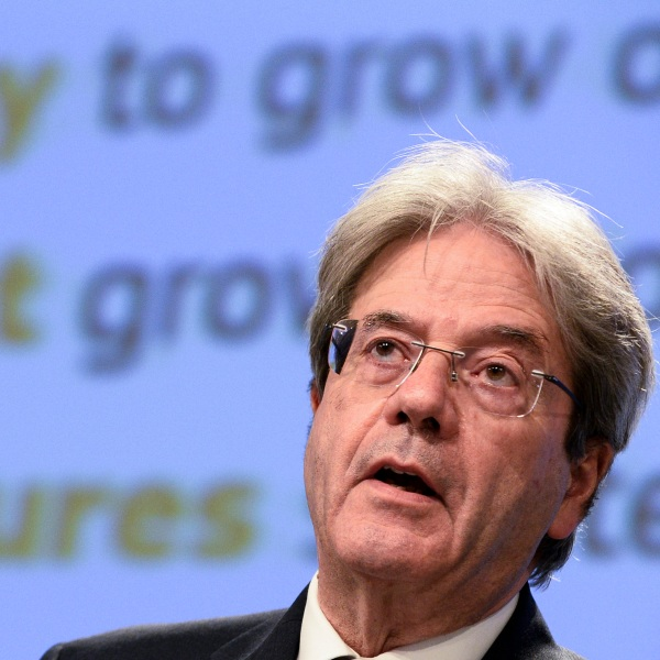 EU Commissioner Gentiloni holds news conference in Brussels